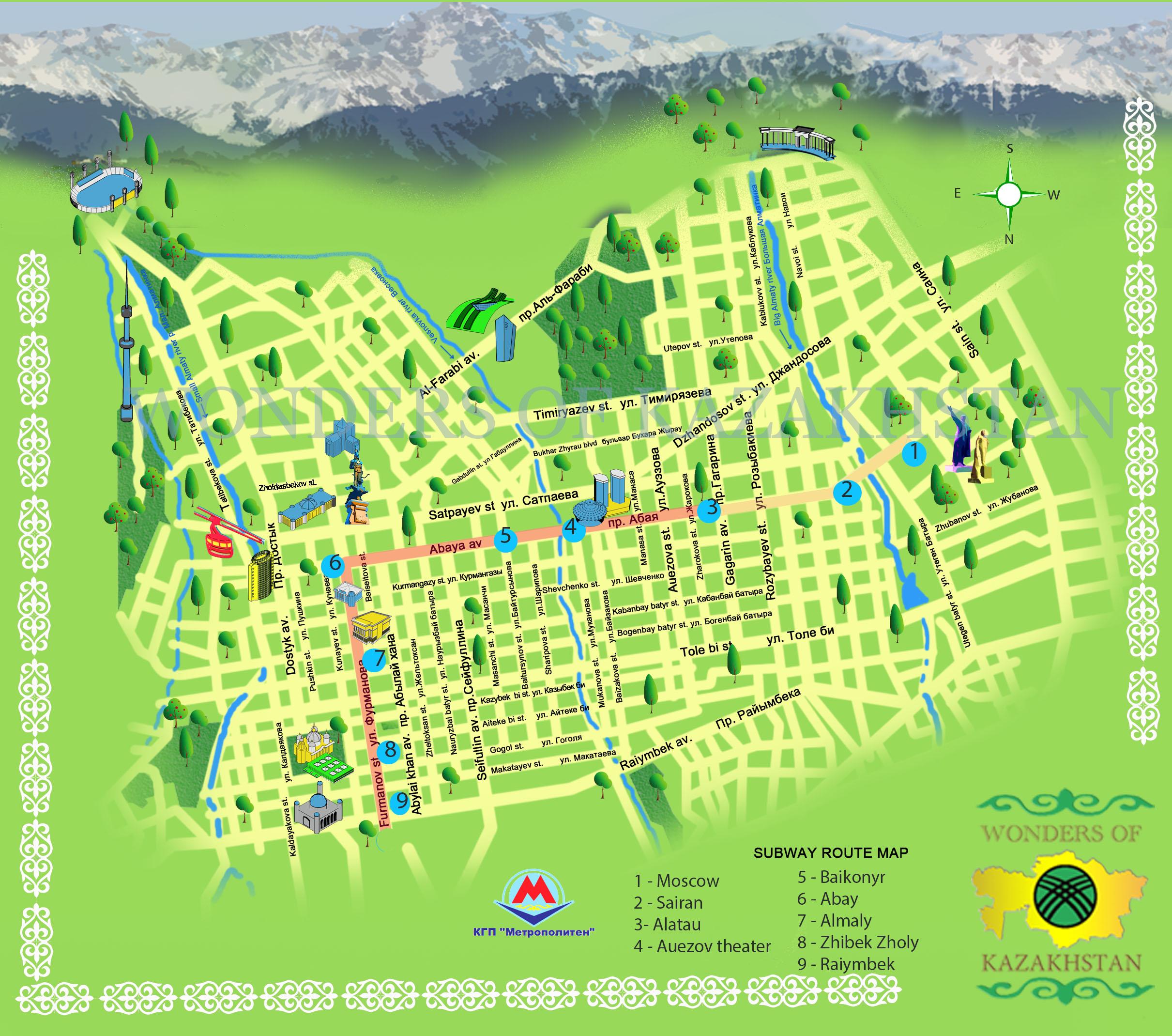 Almaty Sightseeing and Subway map wondersofkazakhstankz